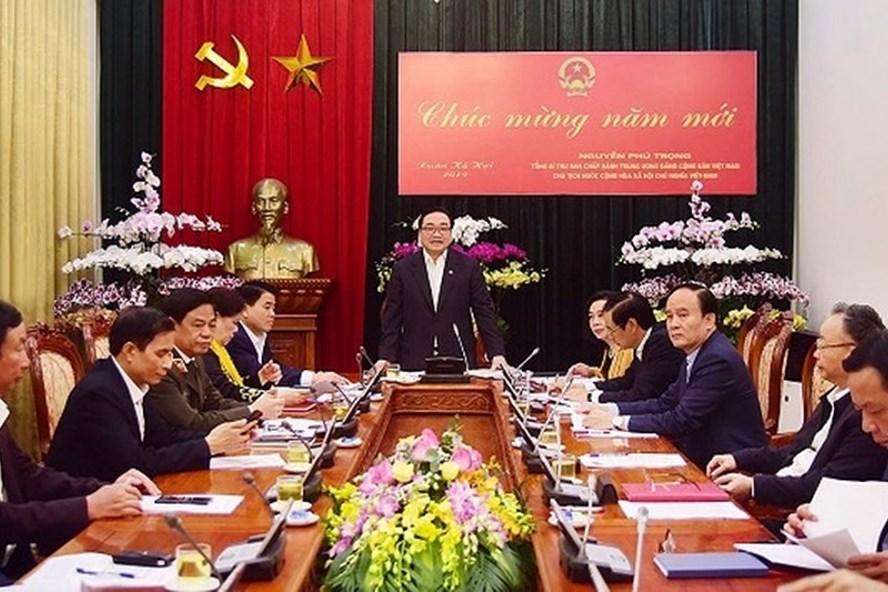 Bí thư Thành ủy Hà Nội Hoàng Trung Hải phát biểu chỉ đạo tại cuộc họp. Ảnh: ANTĐ
