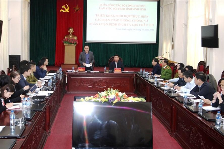Đoàn công tác của Bộ Công thương làm việc với lãnh đạo UBND tỉnh Ninh Bình. Ảnh: NT