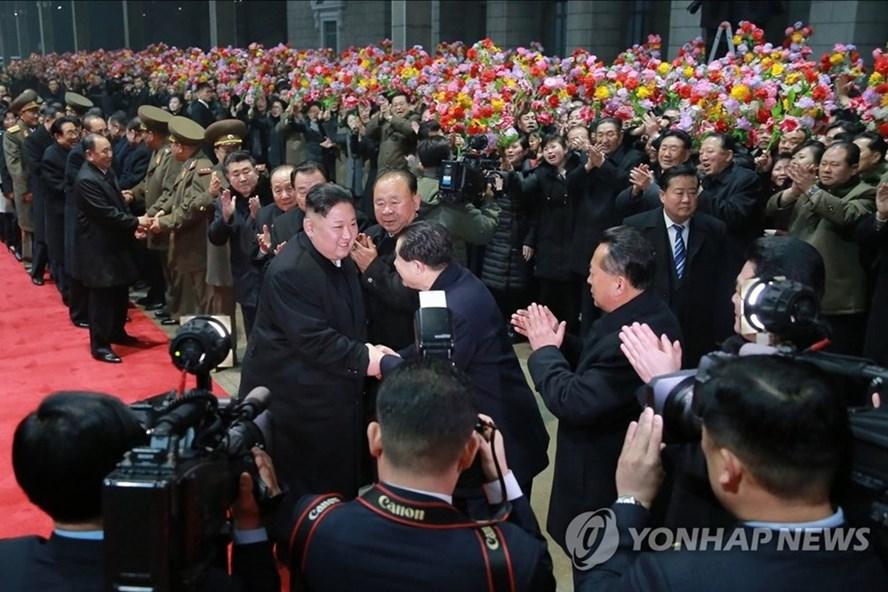 Chủ tịch Triều Tiên Kim Jong-un đã về tới Bình Nhưỡng. Ảnh: Yonhap/KCNA.