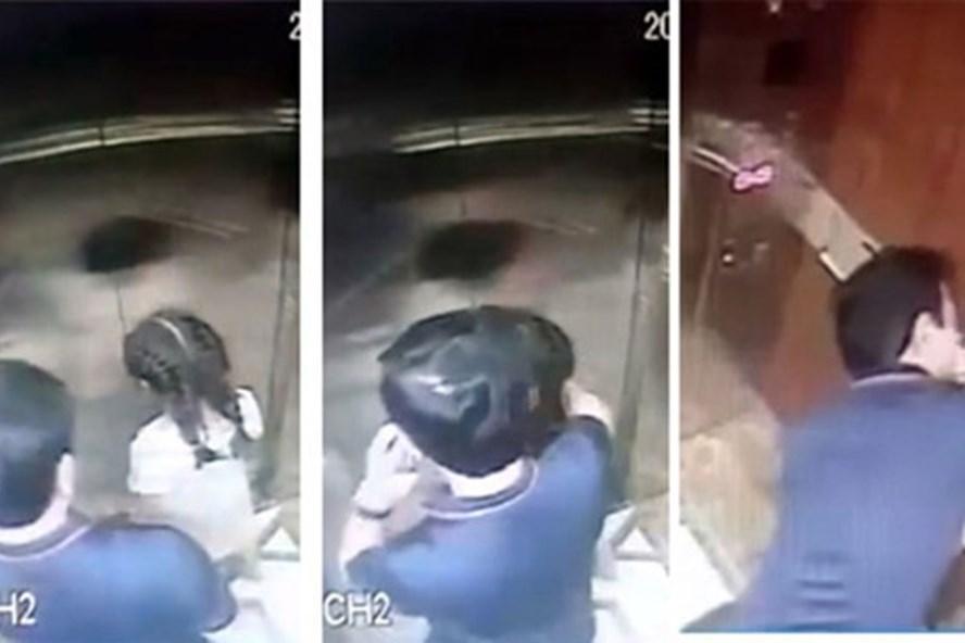 Hình ảnh cắt từ clip trong thang máy.