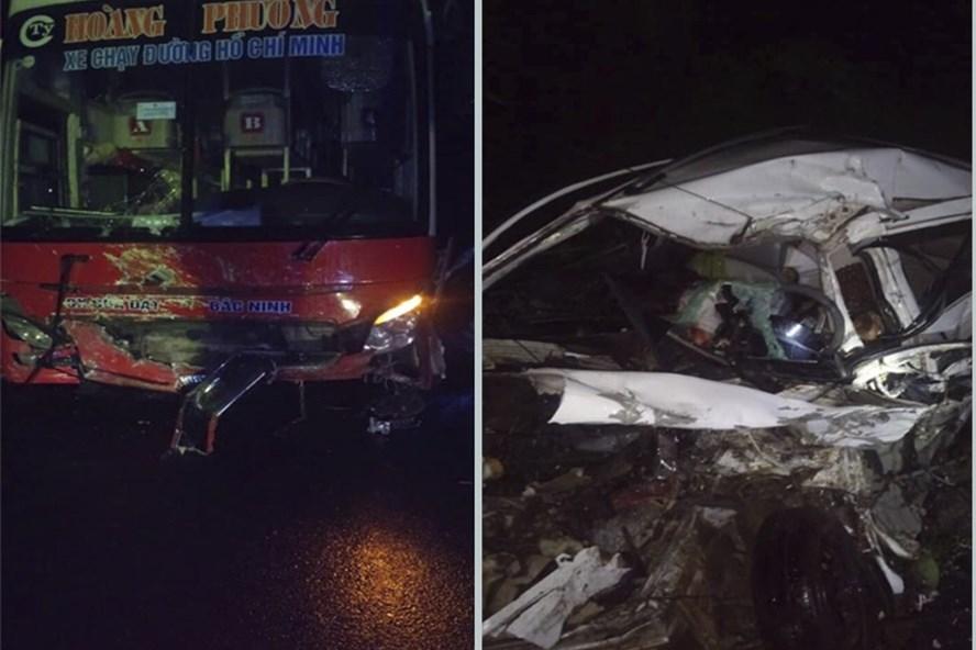 Vụ va chạm với xe khách khiến 2 người đi trên xe con tử vong tại chỗ. Ảnh: GC.