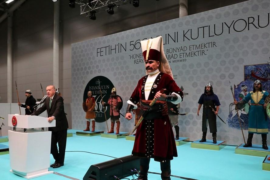 Tổng thống Thổ Nhĩ Kỳ Recep Erdogan phát biểu tại lễ kỷ niệm 566 năm chinh phục  Constantinople (ngày nay là Istanbul), ngày 29.5.2019. Ảnh: Reuters