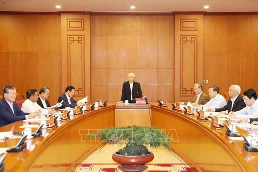 Một cuộc họp của Thường trực Ban Chỉ đạo Trung ương về phòng, chống tham nhũng, dưới sự chủ trì của Tổng Bí thư, Chủ tịch nước Nguyễn Phú Trọng, Trưởng Ban Chỉ đạo. Ảnh: TTXVN.