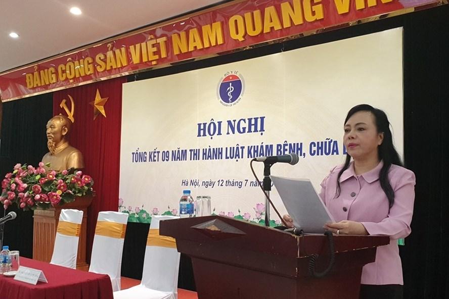 Bộ trưởng Bộ Y tế Nguyễn Thị Kim Tiến phát biểu tại hội nghị. Ảnh: BYT cung cấp