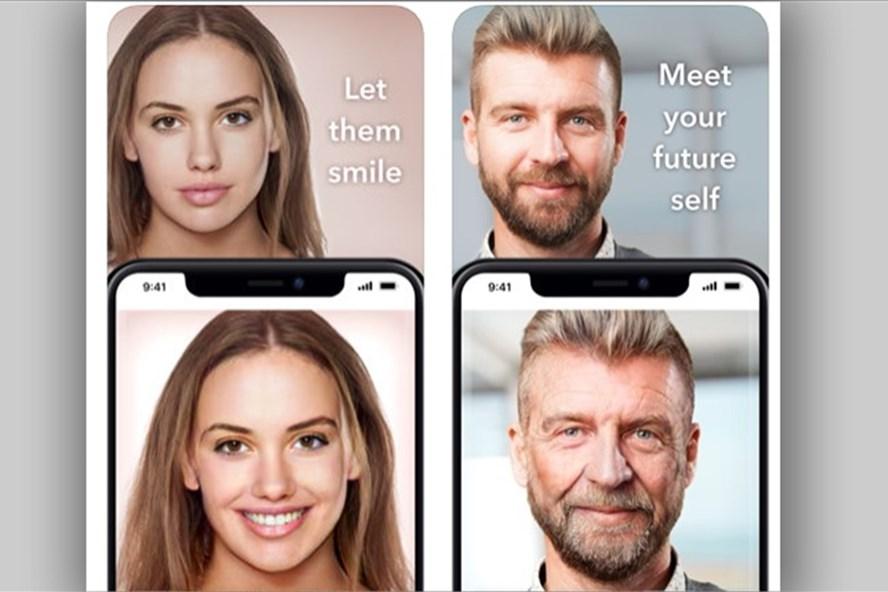 Ứng dụng giúp thay đổi khuôn mặt từ trẻ thành già, từ nữ thành nam và ngược lại. Ảnh FB