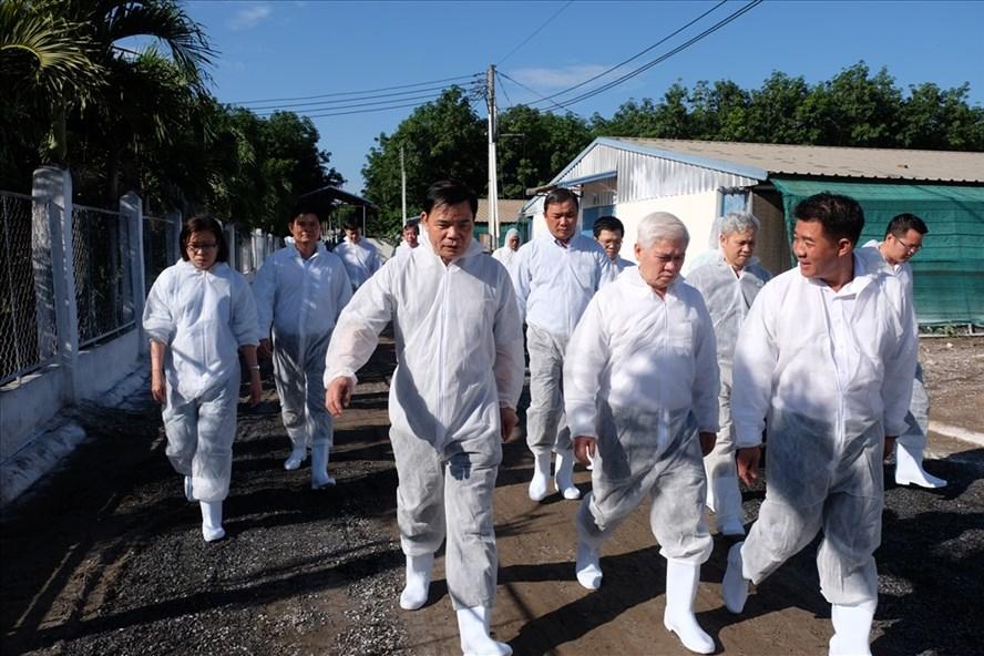 Đoàn công tác thăm và làm việc tại Trang trại gà thịt của Công ty Hùng Nhơn. Ảnh: C.H