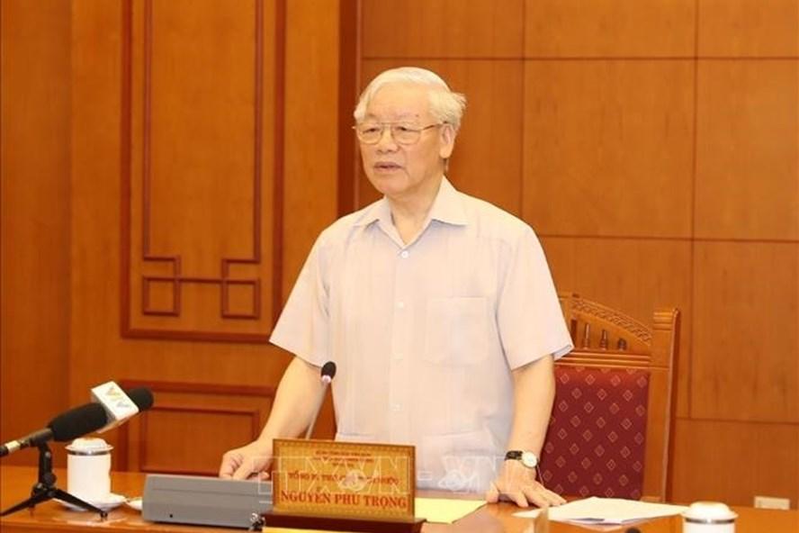 Tổng Bí thư, Chủ tịch Nước Nguyễn Phú Trọng, Trưởng Tiểu ban Nhân sự Đại hội XIII của Đảng phát biểu. Ảnh: Trí Dũng/TTXVN