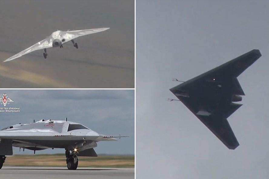 Nga công bố hình ảnh máy bay không người lái tàng hình Okhotnik. Ảnh: Bộ Quốc phòng Nga
