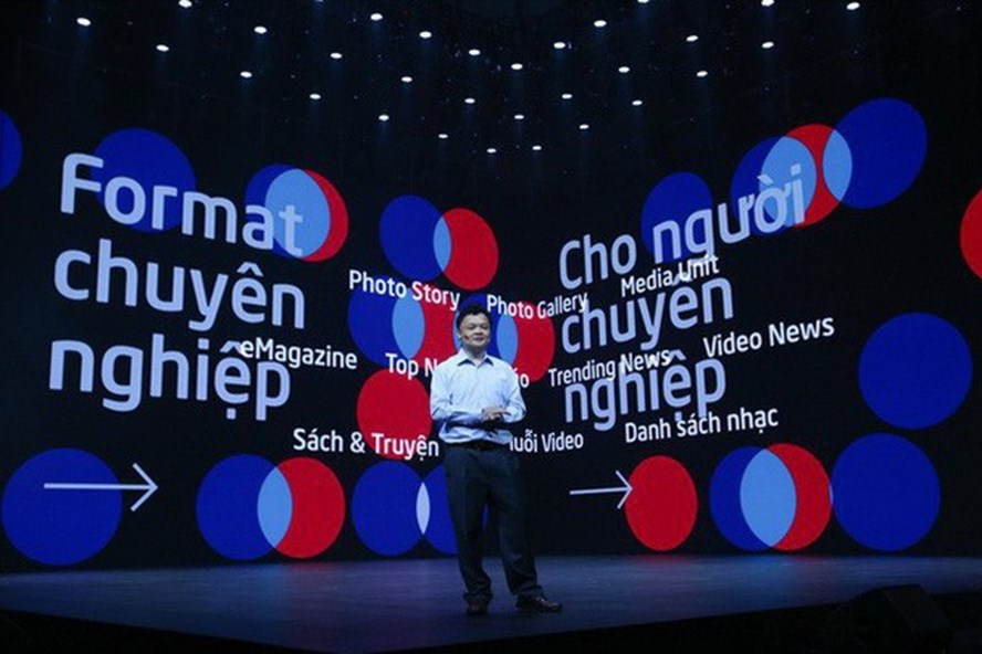 Ông Nguyễn Thế Tân, Tổng giám đốc Công ty Cổ phần VCCorp trong ngày ra mắt Lotus. Ảnh VTV