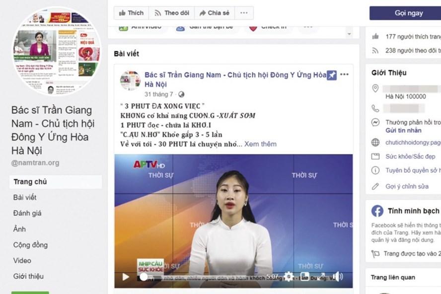 """Fanpage của """"lương y"""" Trần Giang Nam nhan nhản các clip được dựng như chương trình thời sự chính thống."""